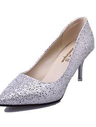 Damen-High Heels-Lässig-Stretch - Satin-Stöckelabsatz-Komfort-Schwarz Weiß