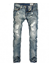 Brand Hight Quality Men's Solid Blue Jeans / Chinos PantsSimple Spring / Fall Hot Sale Demin Pants