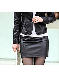 Women's Bodycon Solid Skirts,Casual/Daily Vintage Mid Rise Mini Elasticity Polyester Micro-elastic Winter