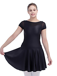 Ballet Dresses Women's Children's Performance Nylon Lycra Mesh Splicing 1 Piece Short Sleeve Dress