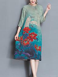 Ample Robe Femme Décontracté / Quotidien Grandes Tailles simple,Imprimé Col Arrondi Midi Manches ¾ Vert Polyester Printemps EtéTaille