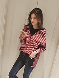 корейская версия новой вертикальной полосатые рубашки вокруг шеи с длинными рукавами длинной части женского поддельной две свободные
