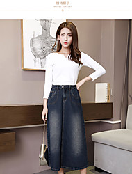 Sign 2017 new washed denim skirt skirt umbrella female literary retro casual long a word bust skirts