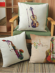 3pcs Innovative painting instruments printing Linen Pillow CaseNovelty Modern/Contemporary