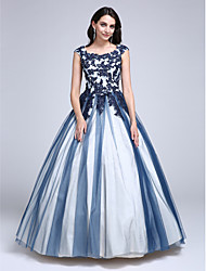 TS Couture Prom Dress - Color Block Ball Gown Scoop Floor-length Lace Tulle with Appliques Beading