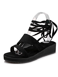 Women's Sandals Spring Summer Other Leatherette Dress Casual Wedge Heel Others Black Green Almond Orange