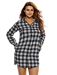 Women's Plaid Long Sleeves Shirt Dress
