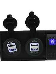DC 12V/24V LED 3.1A dual USB charger Socket with rocker switch jumper wires and housing holder