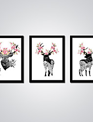 Stretched Pink Flowers and Black and White Deers Modern Picture 3pcs/set Wall Art for Livingroom Decoration