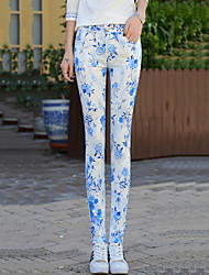Women's Plus Size Skinny Jeans Chinos Pants Casual/Daily Street chic Print Mid Rise Zipper Button Cotton Stretchy All Seasons