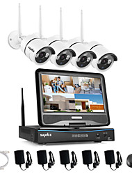 SANNCE 2.4G 10.1 LCD 4CH HD Wireless 720P Wifi NVR 1500TVL In/Outdoor IR CUT IP Camera Security System