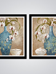 Classic  Blue Vase and White Flowers Painting Canvas Print Art 2pcs/set Abstract Painting for Bedroom Decoration Ready to Hang