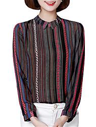 Spring Fall Chiffon Shirt Lapel Long Sleeves Stripe Printing Slim Blouse Fashion Wild Tops