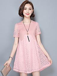 Damen Lose Spitze Kleid-Übergröße Einfach Solide Rundhalsausschnitt Übers Knie Kurzarm Rosa Weiß Schwarz Baumwolle Elasthan Sommer