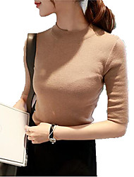 Women's Casual Cashmere Knitwear Half Sleeve O Neck Slim Sweater Pullover