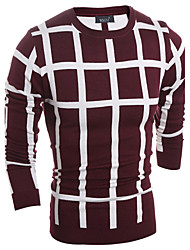 Men's Casual/Daily Simple Regular Pullover,Check Blue Red Black Round Neck Long Sleeve Polyester Spring Fall Medium Micro-elastic