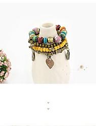 Bracelet Bracelets Bois Forme de Coeur Fait à la main Halloween Bijoux Cadeau Jaune Bleu,1pc