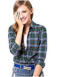 U&Shark New Hot! Women's  British Style Leisure Sanding Plaid Lady Long Sleeve Shirt with Blue Black Green Checks