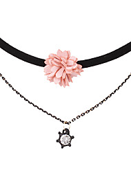 Handmade flower necklace velvet with multi-layer chain necklace clavicle fashion collar # 0342