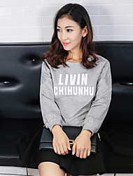 Women's Loose Rompers,Casual/Daily Cute Solid Round Neck Long Sleeve Low Rise Cotton Micro-elastic Spring Fall