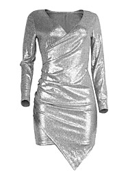 Women's Party/Cocktail Club Sexy Simple Slim Bodycon DressSolid Deep V Mini Long Sleeve Silver Summer Fall Mid Rise Micro-elastic