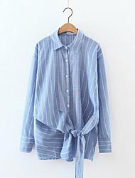 Chemise Femme,Rayé Sortie Plage Vacances Sexy simple Printemps Manches Longues Col de Chemise Bleu Blanc Polyester Fin