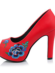 Women's Heels Spring Summer Fall Winter Club Shoes Fleece Wedding Party & Evening Dress Chunky Heel Stitching Lace Black Red White