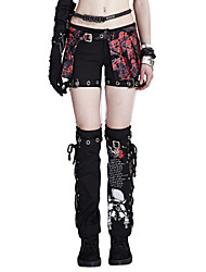 PUNK RAVE K-097Women's Straight Chinos PantsCasual/Daily Punk & Gothic Print Low Rise Button Cotton Spandex Micro-elastic Spring Summer