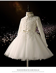 A-line Knee-length Flower Girl Dress - Lace Long Sleeve High Neck with Sash / Ribbon