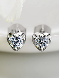 Stud Earrings Rhinestone Love Fashion Sterling Silver Zircon Cubic Zirconia Jewelry For Daily Casual