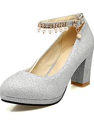 Damen-High Heels-Büro Party & Festivität Kleid-Satin-Blockabsatz-Andere-Schwarz Silber Gold