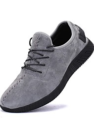Men's Flats Spring Summer Fall Winter Comfort Suede Casual Flat Heel Lace-up Black Gray Running