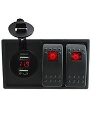 dc 12v / 24v LED-Digital-blaue LED 4.2a USB-Adapter Voltmeter Buchse mit Drähten Schalter Jumper Kniewippe und Gehäusehalter