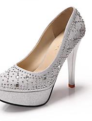 Damen-High Heels-Lässig-PU-Stöckelabsatz-Komfort-Schwarz Silber Gold