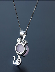 Necklace Pendant Necklaces Jewelry Birthday Daily Basic Design Sterling Silver Women 1pc Gift Silver