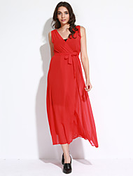 Women's Sexy Solid Chiffon Dress,V Neck Maxi Polyester Beach