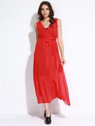 Damen Kleid-Chiffon Sexy Solide Maxi Polyester V-Ausschnitt