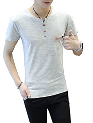 Men's Casual/Daily Formal Beach Cute Street chic Active Summer T-shirt,Solid V Neck Short Sleeve Blue White Gray Green Cotton Medium