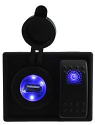 DC 12V/24V LED Digital 2.1A USB charger Socket with rocker switch jumper wires and housing holder