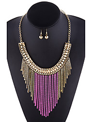 The explosion of jewelry and accessories and alloy Tassel Necklace Earrings Set female set chain 0206#