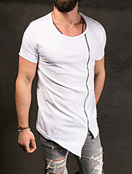 Men's Going out Formal Simple Active Spring Fall T-shirt,Solid Round Neck Short Sleeve Cotton Medium