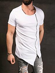 メンズ お出かけ フォーマル 春 秋 Tシャツ,シンプル 活発的 ラウンドネック ソリッド コットン 半袖 ミディアム