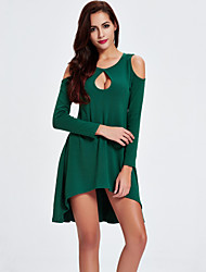Women's Party/Cocktail Club Sexy Street chic A Line Sweater Dress Solid Cut Out Off Shoulder Asymmetrical Cotton Blue /Green