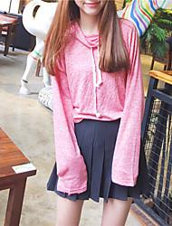 variegada cordão do vintage gola alta t-shirt de mangas compridas solto tiro real