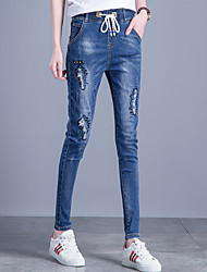Women's Slim Harem Jeans Pants Casual/Daily Street chic Solid Ripped Mid Rise Drawstring Elasticity Cotton  Stretchy All Seasons