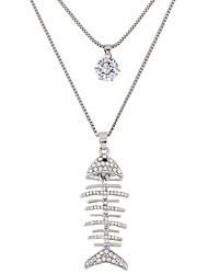 Pendant Necklaces Sweater Chain Jewelry Tropical Fish Double-layer Alloy Rhinestone Women 1pc