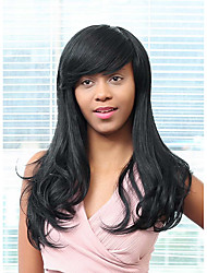 Elegant Partial Bangs Long Hair Glamorous Human Hair Wig