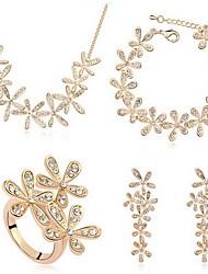 Kristall Aleación Gold Silber 1 Halskette 1 Paar Ohrringe 1 Armreif Ringe Für Party 1 Set Hochzeitsgeschenke