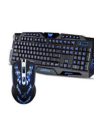 USB Mechanical Touch Illuminated Gaming Keyboard 3 Colors Backlit Keyboard and Colorful 1600DPI Gaming Mouse Set