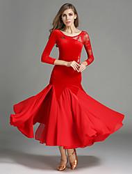 Ballroom Dance Outfits Women's Performance Chiffon Lace Velvet Lace Splicing 2 Pieces Long Sleeve Natural Skirt Leotard